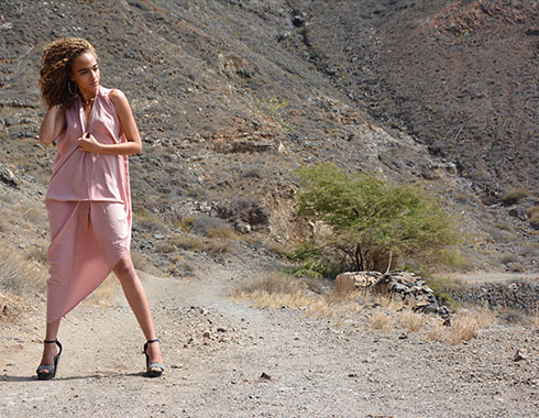 Model in Cape Verde. Pink dress. Photography.