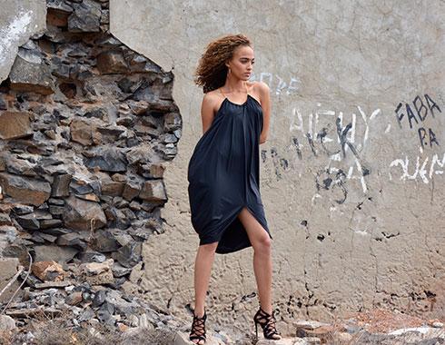 Model in black dress. Cape Verde. Photography.