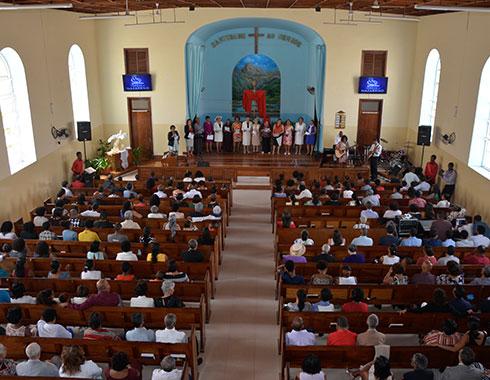 Nazarene Church. Cape Verde. Pews. Photography.