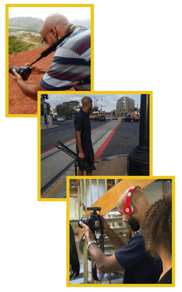 Man filming.