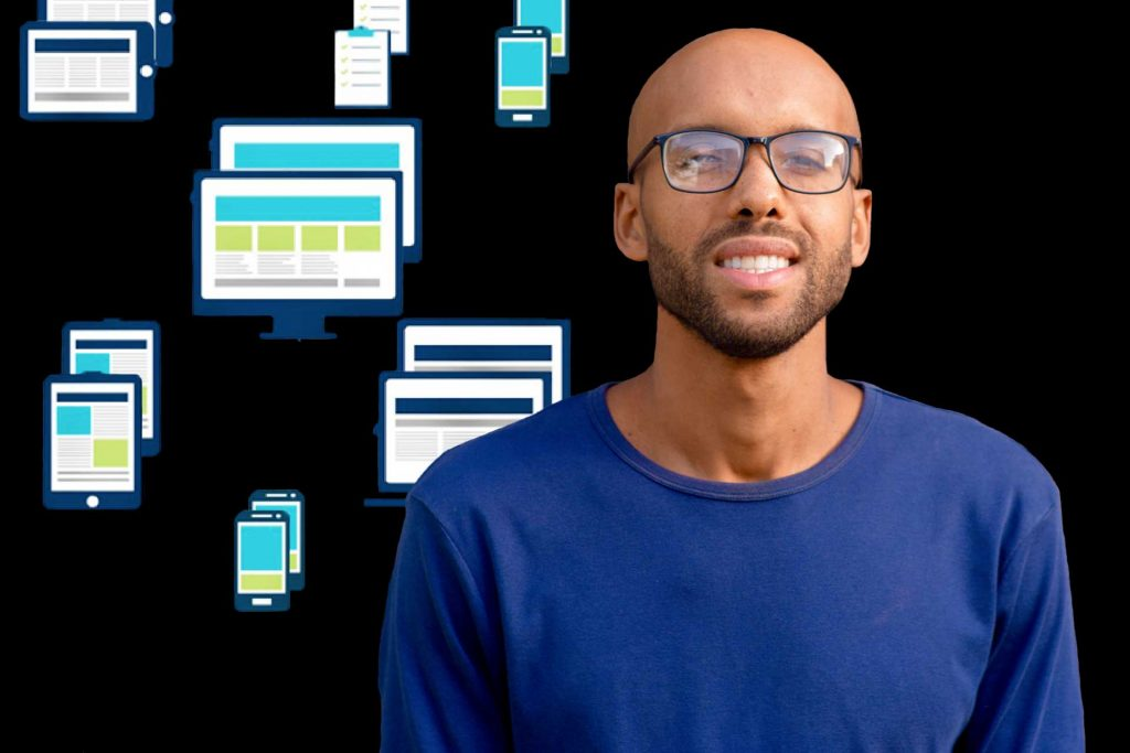 Man with glasses smiling. Website design and SEO.