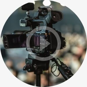 Video camera. Play button. Promo service.